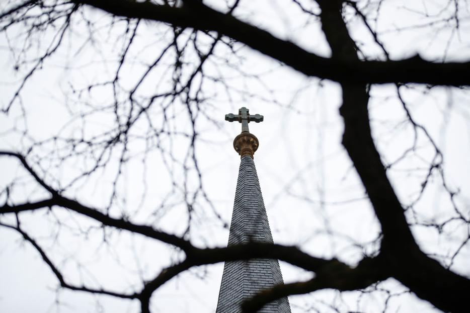 A cross sits atop Holy Name Cathedral Jan. 2 in Chicago.