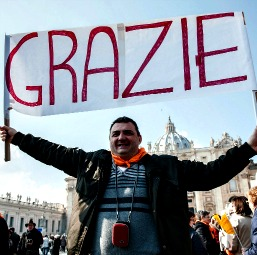 An Italian pilgrim expresses his sentiments to Pope Benedict following the Feb. 17 Angelus in St. Peter's Square.
