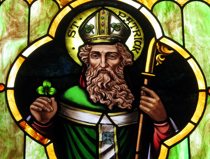 A stained glass image of Saint Patrick at Immaculate Conception Catholic Church in Port Clinton, Ohio.