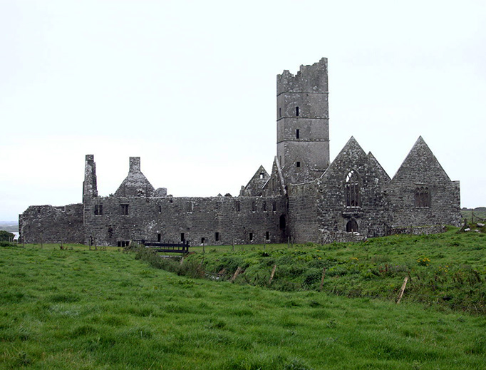Moyne Abbey in County Mayo, Ireland, was destroyed during the reign of Queen Elizabeth I.