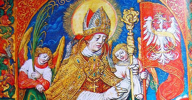 TOP: Image of St. Stanislaw via Wikimedia Commons. BOTTOM: Tomb of St. Stanislaw