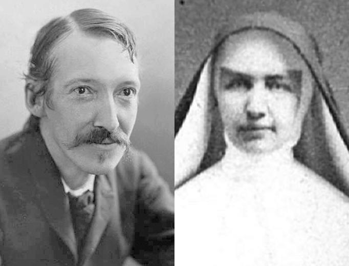 LEFT: Robert Louis Stevenson in 1893, by Henry Walter Barnett (1862–1934). RIGHT: Mother Marianne Cope, from the Honolulu Advertiser Library Photo Archives