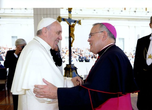 Pope Francis (l) and Archbishop Charles Chaput (r). Both share a passion for encouraging the laity to take a leading role in the Church's evangelization.