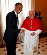 President Obama greets Benedict