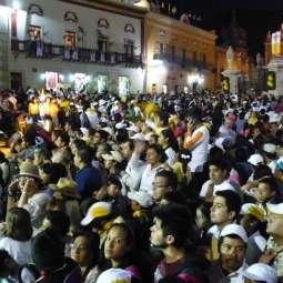 Crowds listen to Pope Benedict XVI speaking in La Plaze de la Paz in Guanajuato.