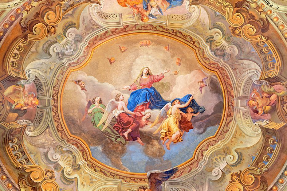 Gaetano Barabini's ceiling fresco of the Assumption of the Blessed Virgin Mary in Santuario del Santissimo Crocifisso