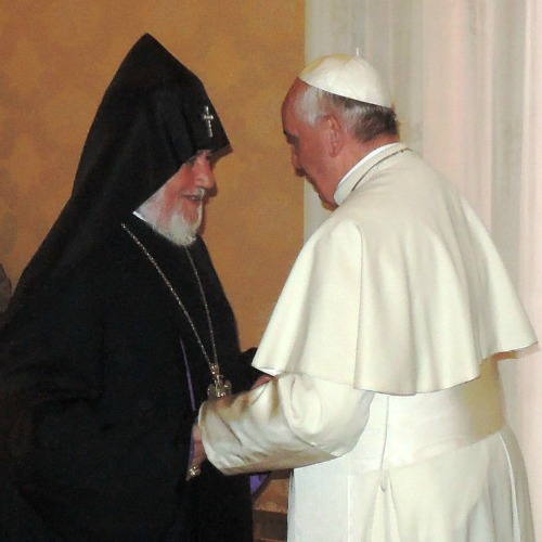 Catholicos Kerekin II, the head of the Armenian Apostolic Church, meets with Pope Francis at the Vatican on May 8, 2014.
