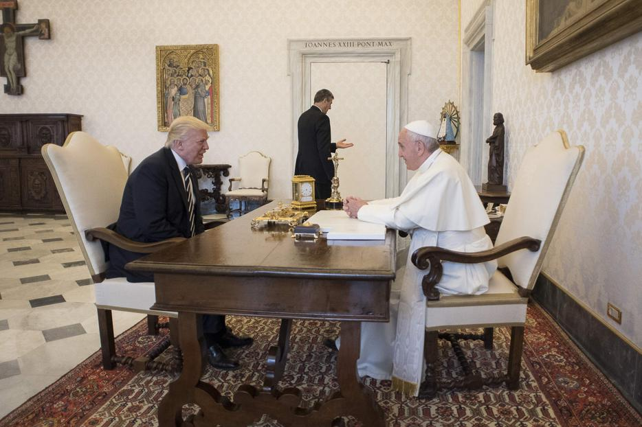 Pope Francis meets with U.S. President Donald Trump in the Vatican's Apostolic Palace on May 24, 2017.