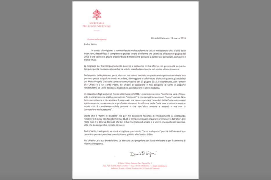 A screenshot of Msgr. Dario Vigano's resignation letter, written March 19, 2018.