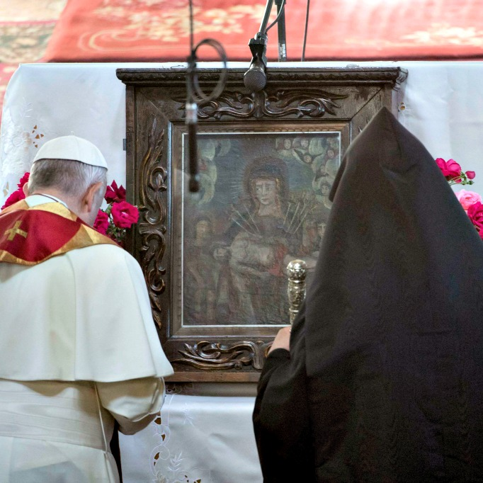 Pope Francis and Catholicos Karekin II pray at the Armenian Apostolic Cathedral in Gyumri, Armenia, on June 25.