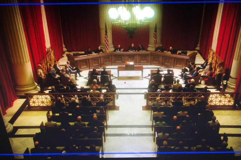 A movie still of a U.S. Supreme Court scene from the Roe v. Wade movie, which is slated for release in the fall