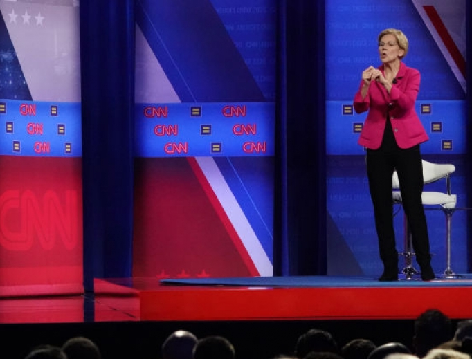Democratic presidential candidate U.S. Sen. Elizabeth Warren, D-Mass., listens to a question at the Human Rights Campaign Foundation and CNN's presidential town hall Oct. 10 in Los Angeles.