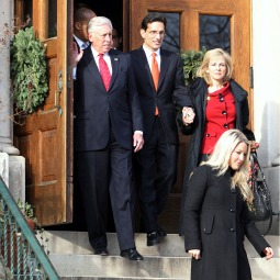 U.S. Rep. Steny Hoyer, D-Md., top left, and incoming Majority Leader Eric Cantor, R-Va., and his wife Diana Cantor leave a private bipartisan prayer service for members of the 112th Congress and their families Jan. 5 at St. Peter's Catholic Church on Capitol Hill.