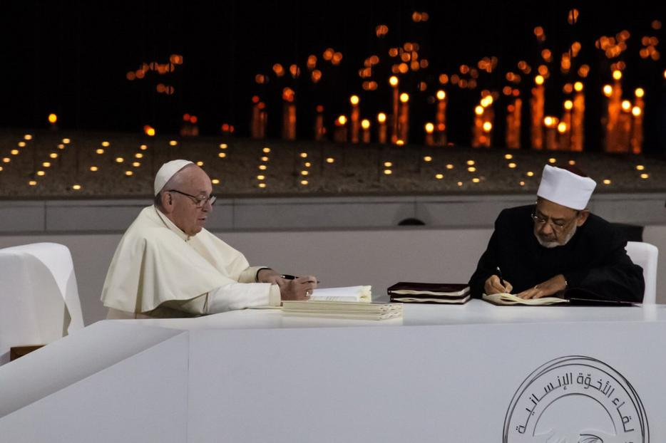 Pope Francis and Sheikh Ahmed al-Tayeb, the grand imam of Al-Azhar in Cairo, sign the joint document on fraternity last week.
