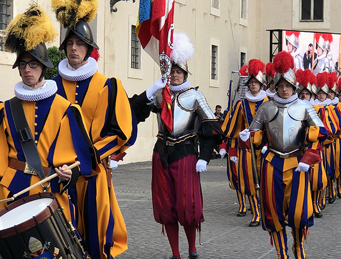 ABOVE AND BELOW: The May 6, 2018, swearing-in ceremony of 32 new Swiss Guards was accompanied by numerous events and ceremonies, including Mass, Vespers, a wreath-laying ceremony and a private papal audience.