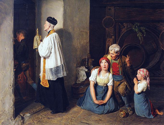 """Ferdinand Georg Waldmüller, """"Extreme Unction,"""" 1846"""