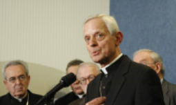 """FORCED TO CLOSE. Archbishop Donald Wuerl of Washington speaks about the """" Manhattan Declaration: A Call of Christian Conscience"""" document at the National Press Club in Washington Nov. 20. The archbishop ordered the closing of Catholic foster care and adoption programs with city contracts after the Council of the District of Columbia legalized same-sex """"marriage."""""""