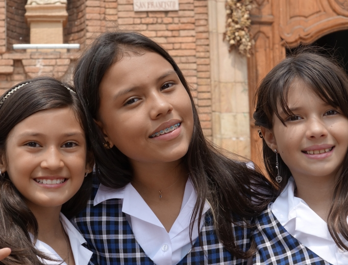 Catholic school girls in uniform.