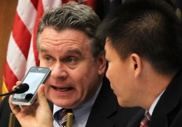 In May, Rep. Chris Smith, R-NJ (l), and Pastor Bob Fu of ChinaAid spoke during a congressional hearing with Chen Guangcheng.