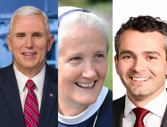From left to right: The University of Notre Dame invited Vice President Mike Pence, while Thomas Aquinas College chose Mother Agnes Mary Donovan, superior general of the Sisters of Life in New York, and Franciscan University selected Ryan Anderson of The Heritage Foundation.