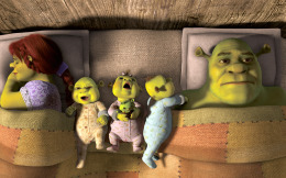 IT'S A WONDERFUL LIFE? As Fiona (Cameron Diaz) sleeps peacefully, Shrek (Mike Myers) has trouble doing so in DreamWorks Animation's Shrek Forever After, which releases May 21.