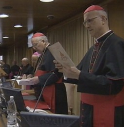 A screenshot of the cardinals' March 4 general congregation in the Vatican's New Synod Hall.