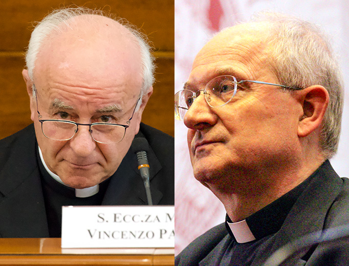 LEFT: Archbishop Vincenzo Paglia, grand chancellor of the Pontifical John Paul II Theological Institute for the Sciences of Marriage and the Family. RIGHT: Msgr. Livio Melina, professor and former president of the John Paul II Institute who was removed from his tenured position July 23.