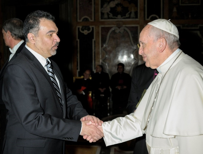 Above, Iraqi-American analyst Abbas Kadhim, director of the Atlantic Council's Iraq Initiative, invited Pope Francis to Iraq when they met in February 2018.