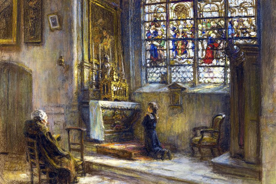 """Léon Augustin Lhermitte (1844–1925), """"La prière, église Saint-Bonnet"""""""