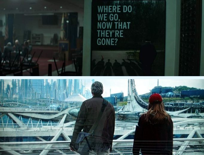Avengers: Endgame (top) addresses cataclysmic themes on the big screen by leaving God out of questions pertaining to 'the end,' while Tomorrowland (bottom) offers its take on utopianism.