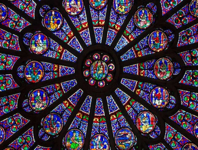 The North Rose window at Notre Dame cathedral dates from 1250.