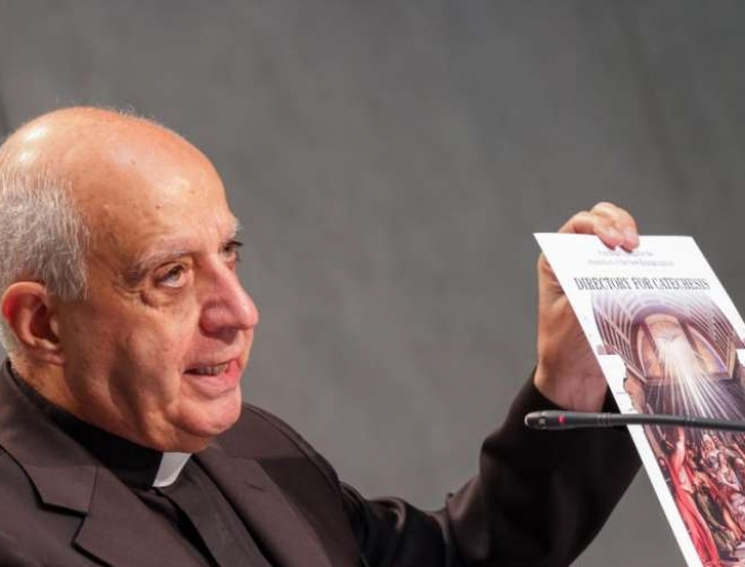 Archbishop Rino Fisichella presents the new Directory for Catechesis at the Vatican, June 25, 2020.