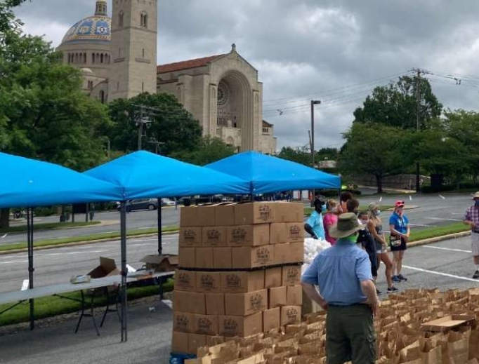 Catholic Charities of the Archdiocese of Washington at the National Shrine on Friday July 10, 2020.