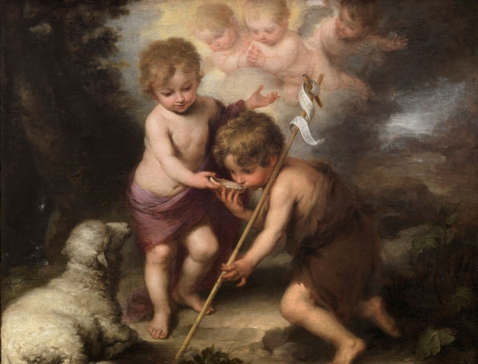 John the Baptist (right) with the Child Jesus, in the painting The Holy Children with a Shell, by Bartolomé Esteban Perez Murillo