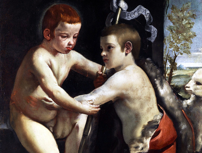 "Guido Cagnacci (1601-1663), ""Jesus and John the Baptist as Children"""
