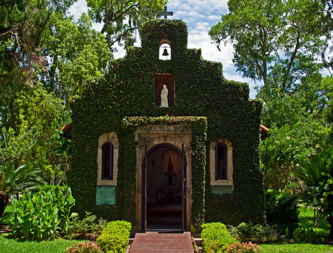Historic ivy covered church located in St. Augustine, Florida.