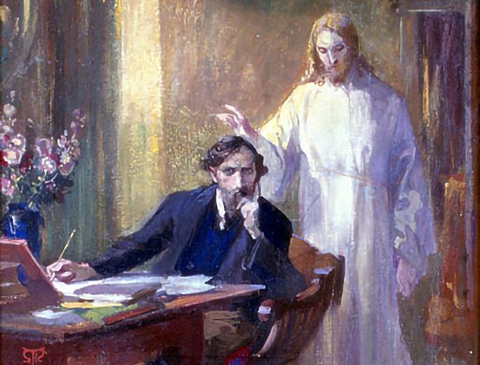 """Martin von Feuerstein, """"Selbstporträt mit Christuserscheinung,"""" 1900"""