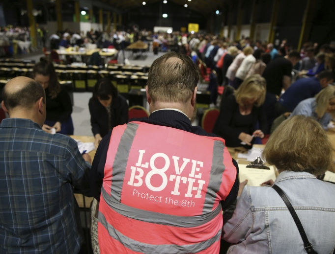 Votes are counted May 26 at Dublin's RDS Arena in the referendum on the Eighth Amendment of the Irish Constitution.