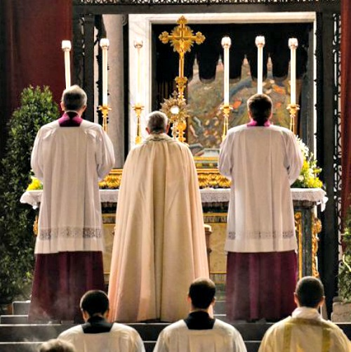 Pope Francis leads Eucharistic adoration for the feast of Corpus Christi at St. John Lateran.