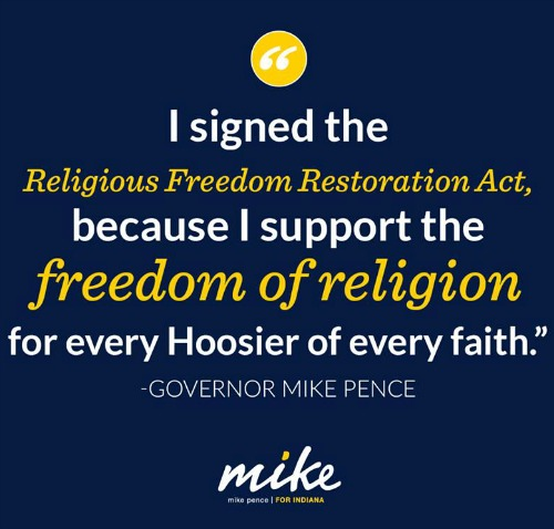 Indiana Gov. Mike Pence posted this graphic on his Facebook page.