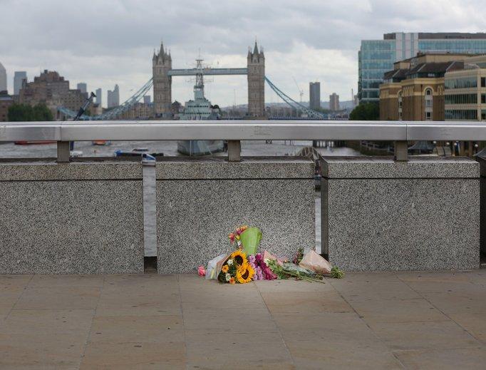 Flowers laid by the public June 5 on London Bridge following June 3 London terrorist attack.