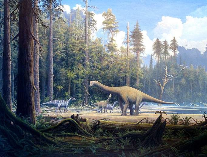 Painting of a late Jurassic scene in northern Germany, showing several iguanodons and an adult and a juvenile specimen of the sauropod Europasaurus holgeri.