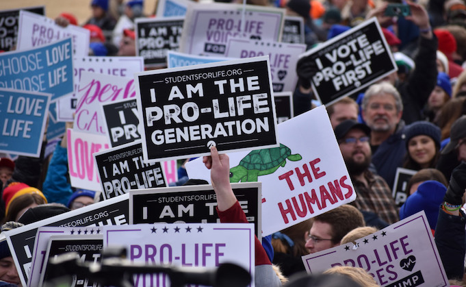 The March for Life 2020 is shown underway.