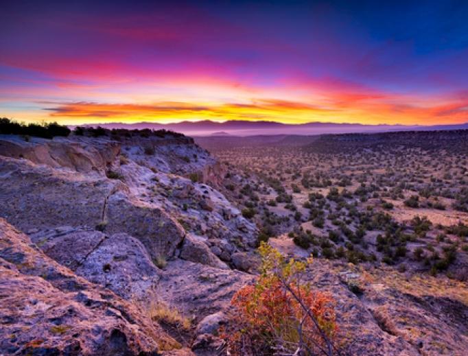 Sunrise over Bandelier National Monument.
