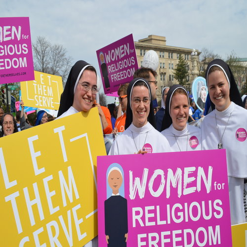 Religious sisters show their support of the Little Sisters of the Poor outside the Supreme Court where oral arguments were heard on March 23 in the Zubik v. Burwell case against the HHS mandate.