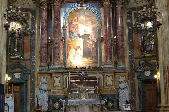 Tomb of St. John Bosco in the Basilica di Maria Ausiliatrice at the Salesian Center in Turin, Italy.