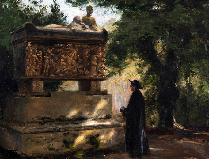 "H.A. Brendekilde (1857-1942), ""A Catholic Father in Front of a Sarcophagus"""