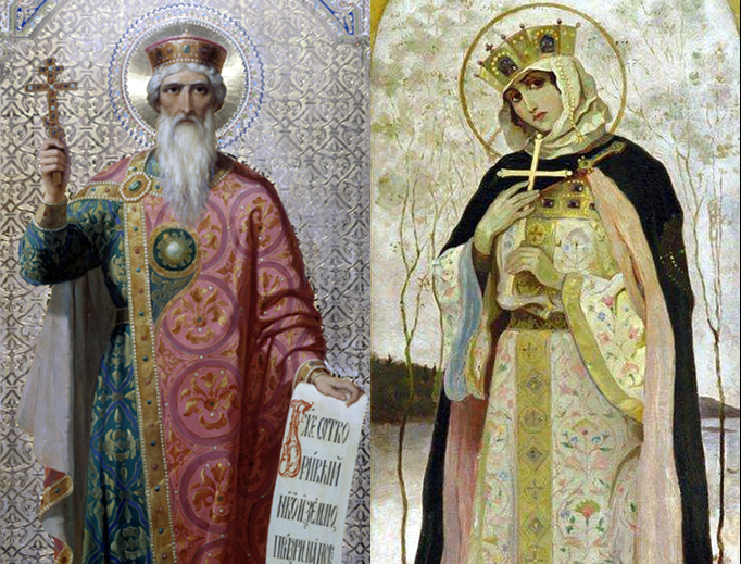 LEFT: An icon of St. Vladmir. RIGHT: Painting of St. Olga by Mikhail Nesterov (1862–1942).