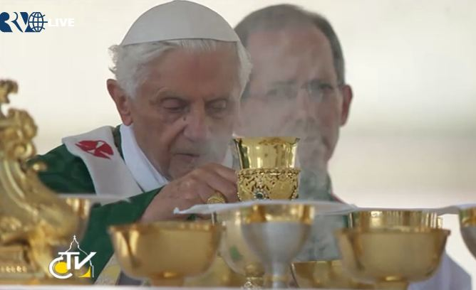 The Holy Father incensing the altar during Mass to open the Year of Faith, Oct. 11, 2012.