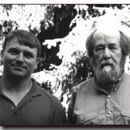 Joseph Pearce and Alexander Solzhenitsyn during their weekend of interviews at Solzhenitsyn's home outside of Moscow in 1998.